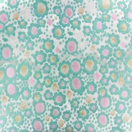 ♥ Coupon tissu 60 cm X 150 cm ♥ jacquard Fleurettes - vert d'eau