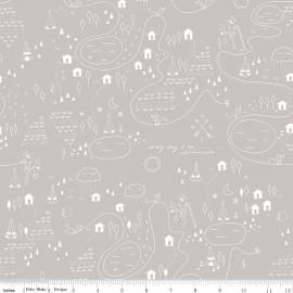 Tissu Adventure Map Gray x 30cm
