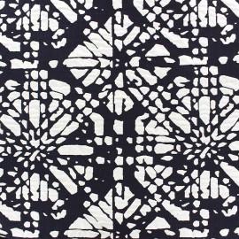 Tissu jacquard stretch Abstrait - bleu nuit x 10cm