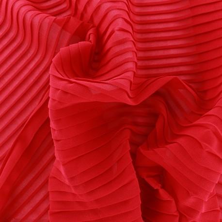 Tissu crêpe léger plissé - rouge x 50cm