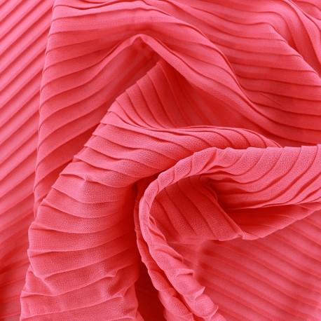 Tissu crêpe léger plissé - corail x 50cm