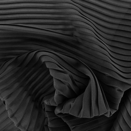 Tissu crêpe léger plissé - noir x 50cm