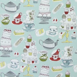 Tissu coton enduit vernis Afternoon tea - duck egg x 65cm