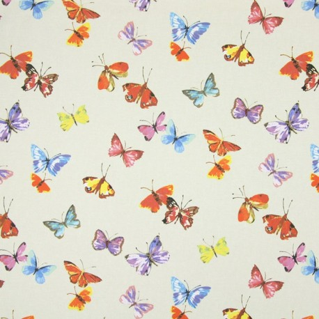 Coated cotton fabric Sweet Butterfly - linen  x 10cm