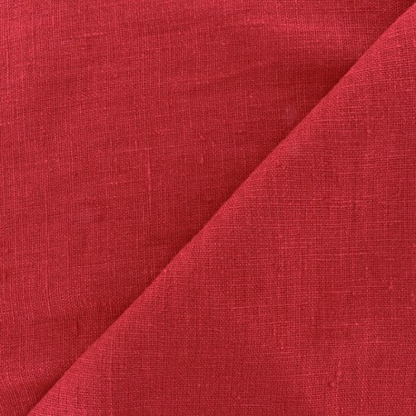 Thevenon washed Linen Fabric - red x 10cm