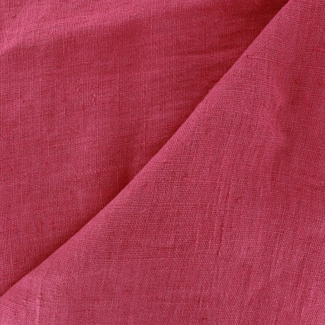 Tissu lin lavé Thevenon - framboise x 10cm