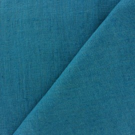 Thevenon washed Linen Fabric - duck blue x 10cm