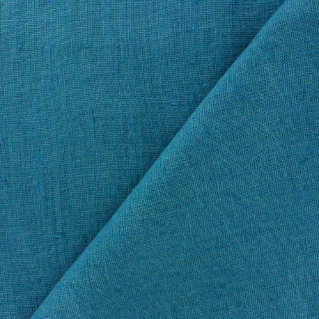 Thevenon washed Linen Fabric - duck blue x 10cm