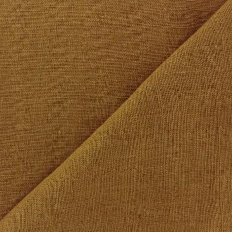 Thevenon washed Linen Fabric - curry x 10cm