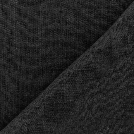 Thevenon washed Linen Fabric - black x 10cm