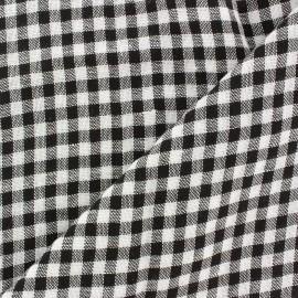 Tissu lin viscose léger Vichy - noir x 10cm