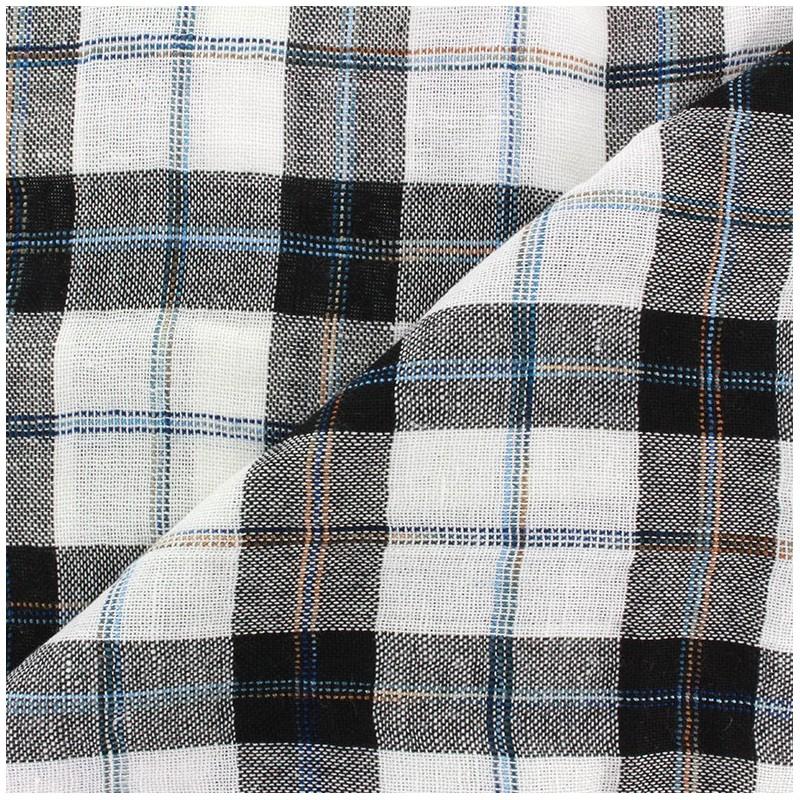 tissu lin viscose l ger carreaux noir et blanc x 10cm. Black Bedroom Furniture Sets. Home Design Ideas