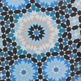 ♥ Coupon 250 cm X 140 cm ♥ Muslin Fabric Zellij - blue