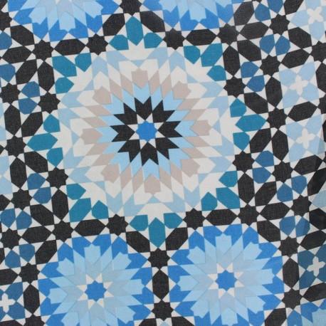 Tissu mousseline Zellij - bleu