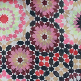 Tissu mousseline Zellij - rouge x 50cm