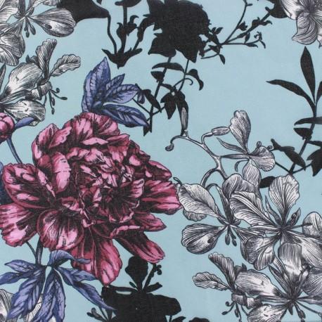 Tissu mousseline Spring - bleu x 50cm