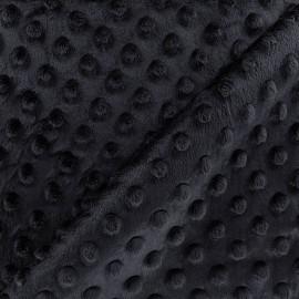 Tissu Velours minkee doux relief à pois bleu nuit x 10cm