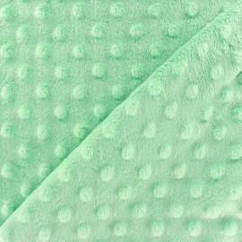 Tissu Velours minkee doux relief à pois vert d'eau x 10cm