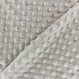 Tissu Velours minkee doux relief à pois beige clair x 10cm