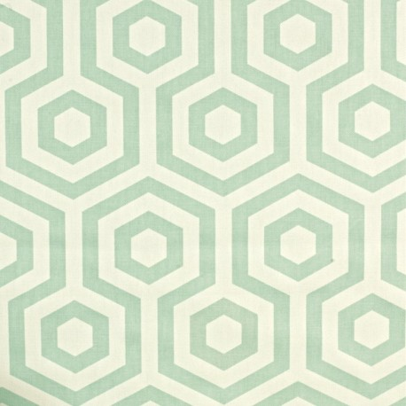 Varnished and coated cotton fabric Hex - aqua  x 10cm