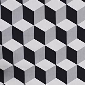 Tissu coton enduit vernis Cube - jet x 10cm