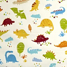 Varnished and coated cotton fabric Dino - paintbox x 64cm
