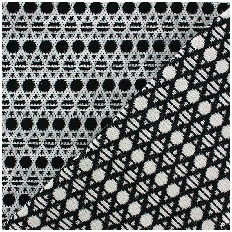 tissu jacquard seattle noir et blanc x 10cm ma petite. Black Bedroom Furniture Sets. Home Design Ideas