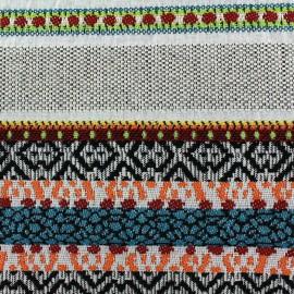 Tissu jacquard Fidji - rayures bayadères multi x 65cm