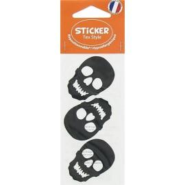 Stickers Tex Style Tête de mort - noir