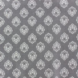 Coated cotton fabric Regalido Mouche - grey x 10cm