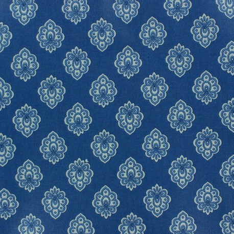 Tissu enduit coton Regalido Mouche - bleu x 10cm
