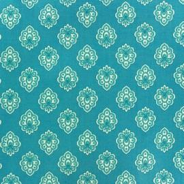 Cretonne cotton fabric Regalido mouche - turquoise x 10cm