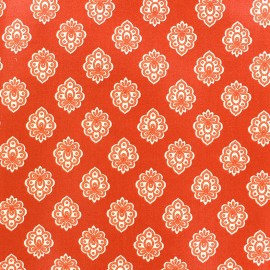 Cretonne cotton fabric Regalido mouche - orange x 10cm