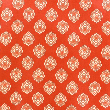 Cretonne cotton fabric Regalido mouche - orange x 10cm