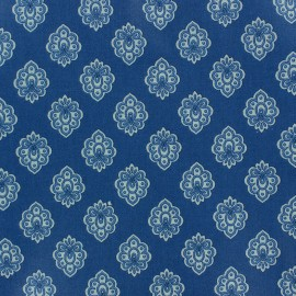 Cretonne cotton fabric Regalido mouche - blue x 10cm