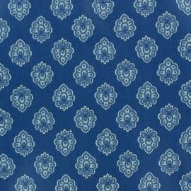 Cretonne cotton fabric Regalido mouche - blue x 10cm