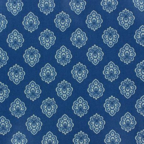 Tissu coton crétonne Regalido mouche - bleu x 10cm