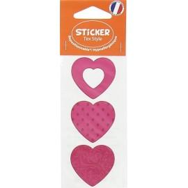 Stickers Tex Style Coeur - fuchsia