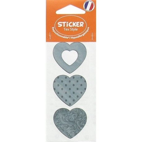 Stickers Tex Style Coeur - gris