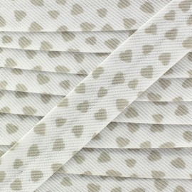 Stitched Cotton Bias binding, Love - beige