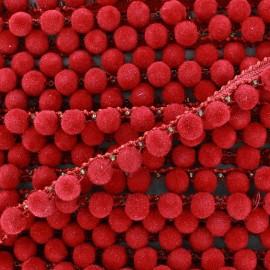 India pompom braid trimming 8 mm x 50cm - red