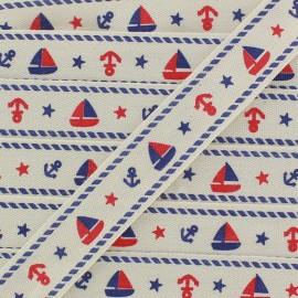 Woven Ribbon, sailing boat - ecru x 1m