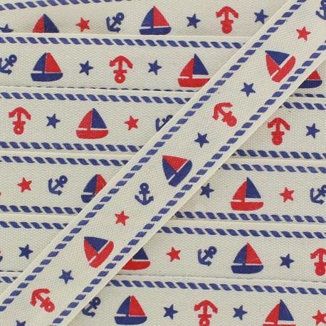 Woven Ribbon, sailing boat x 1m - ecru