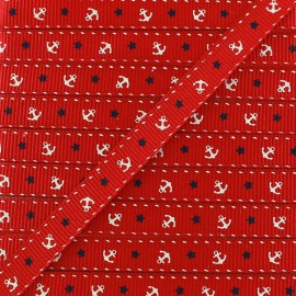 Gros grain aspect ribbon Anchors & Stars - red x 1 m