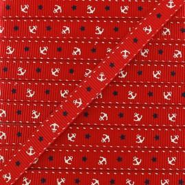 Ruban aspect gros grain Ancres & Etoiles - rouge x 1 m
