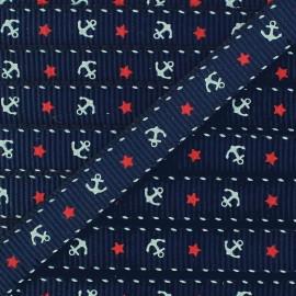 Gros grain aspect ribbon Anchors & Stars - navy blue x 1 m
