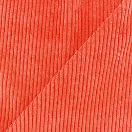 Thick ribbed velvet fabric - bright orange x 10cm