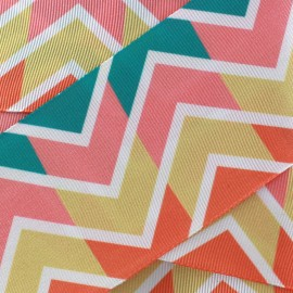 Ruban aspect gros grain satiné Chevron - corail x 1m