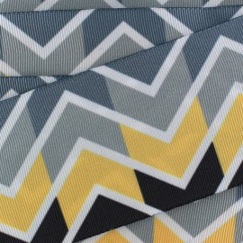 Ruban aspect gros grain satiné Chevron - gris x 1m