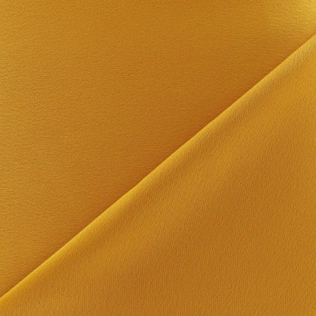 Crepe with satin reverse side Fabric - ochre x 10cm